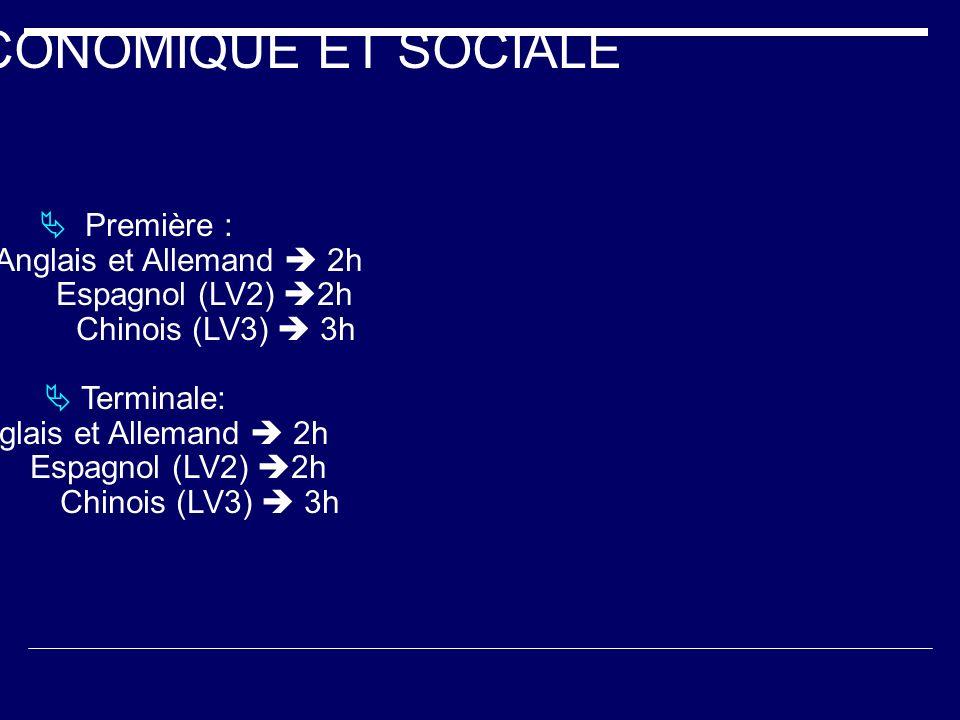 FILIERE ECONOMIQUE ET SOCIALE Première : Anglais et Allemand 2h Espagnol (LV2) 2h Chinois (LV3) 3h Terminale: Anglais et Allemand 2h Espagnol (LV2) 2h