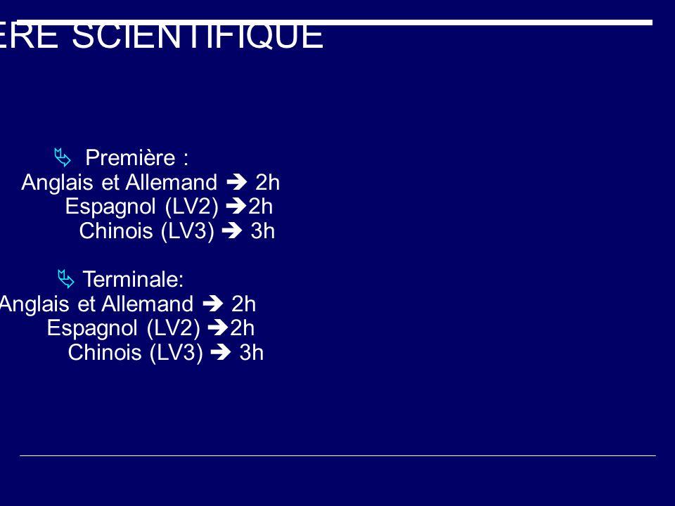 FILIERE SCIENTIFIQUE Première : Anglais et Allemand 2h Espagnol (LV2) 2h Chinois (LV3) 3h Terminale: Anglais et Allemand 2h Espagnol (LV2) 2h Chinois