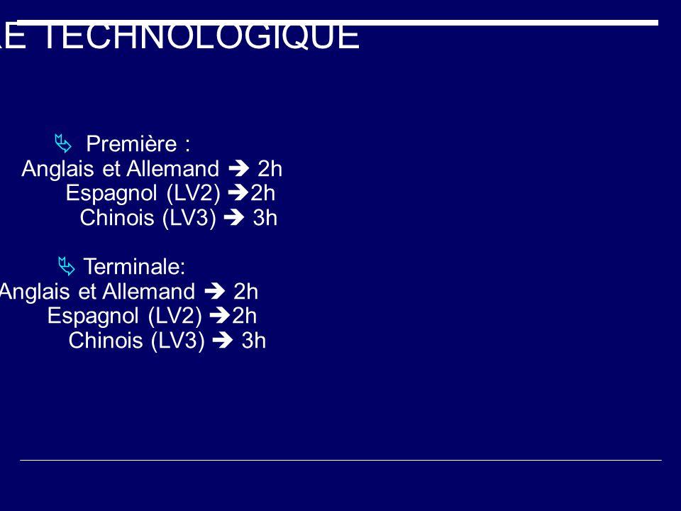 FILIERE TECHNOLOGIQUE Première : Anglais et Allemand 2h Espagnol (LV2) 2h Chinois (LV3) 3h Terminale: Anglais et Allemand 2h Espagnol (LV2) 2h Chinois