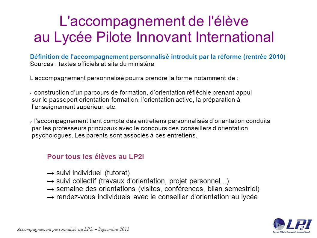 Accompagnement personnalisé au LP2i – Septembre 2012 Le suivi : l individu dans le groupe Le suivi collectif, pourquoi .
