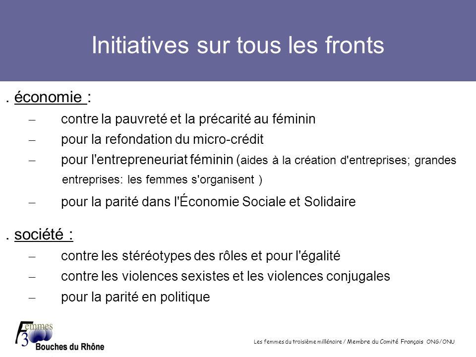 Les femmes du troisième millénaire / Membre du Comité Français ONG/ONU Initiatives sur tous les fronts. économie : – contre la pauvreté et la précarit
