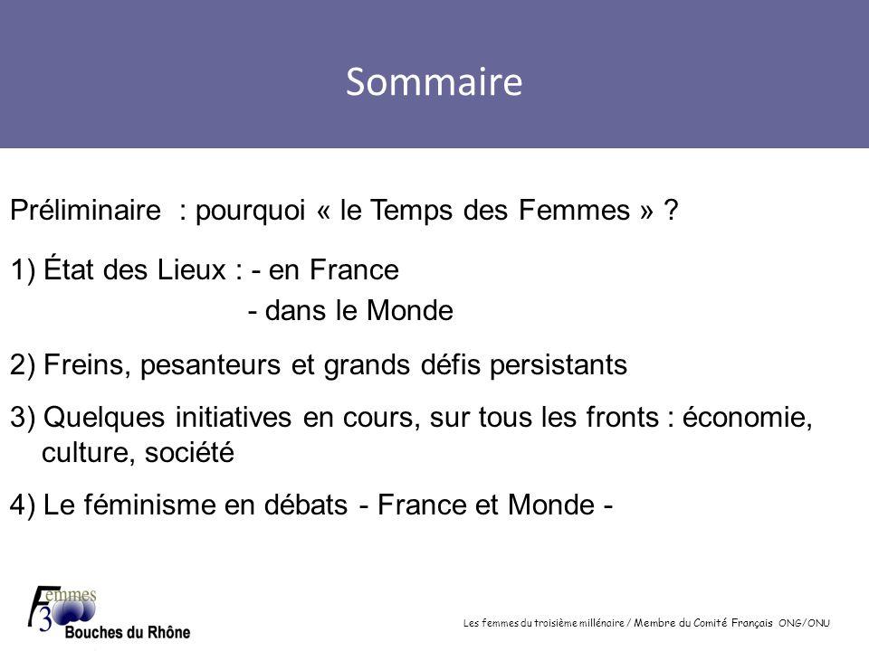 Les femmes du troisième millénaire / Membre du Comité Français ONG/ONU Sommaire Préliminaire : pourquoi « le Temps des Femmes » ? 1) État des Lieux :
