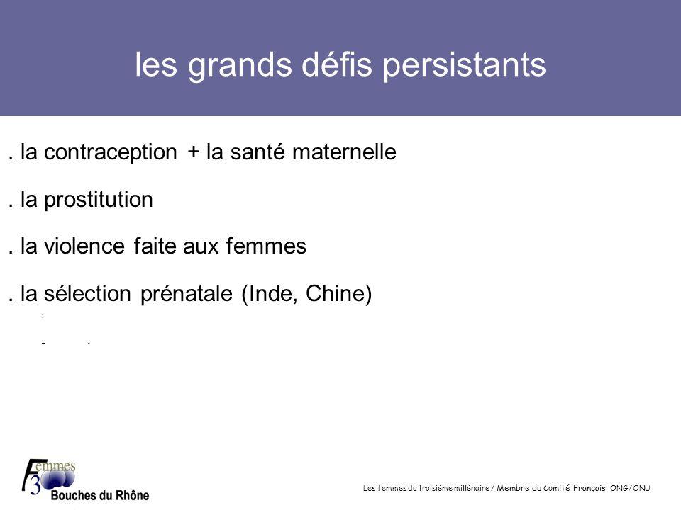 Les femmes du troisième millénaire / Membre du Comité Français ONG/ONU les grands défis persistants. la contraception + la santé maternelle. la prosti