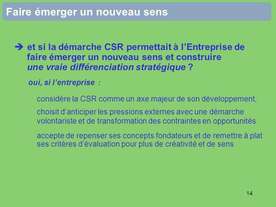 14 Faire émerger un nouveau sens et si la démarche CSR permettait à lEntreprise de faire émerger un nouveau sens et construire une vraie différenciati