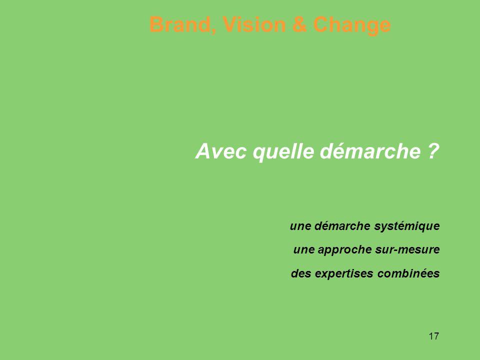 17 Avec quelle démarche ? Brand, Vision & Change une démarche systémique une approche sur-mesure des expertises combinées