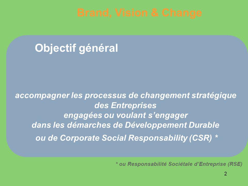 2 Objectif général accompagner les processus de changement stratégique des Entreprises engagées ou voulant sengager dans les démarches de Développemen