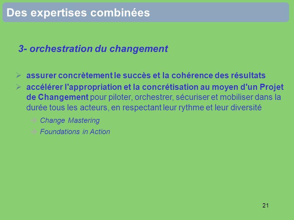 21 Des expertises combinées 3- orchestration du changement assurer concrètement le succès et la cohérence des résultats accélérer l'appropriation et l