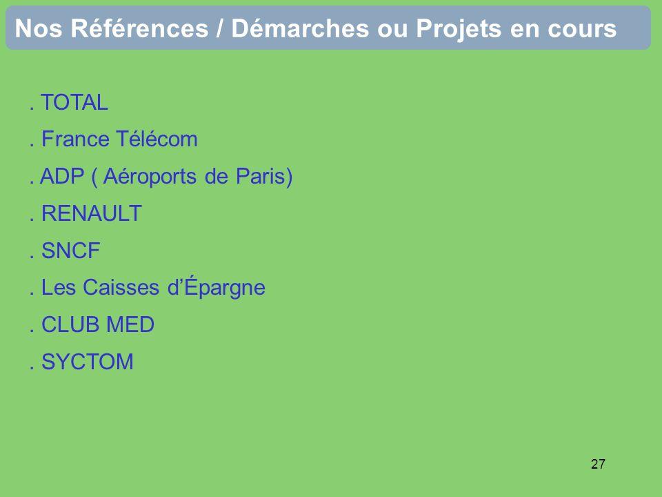 27 Nos Références / Démarches ou Projets en cours. TOTAL. France Télécom. ADP ( Aéroports de Paris). RENAULT. SNCF. Les Caisses dÉpargne. CLUB MED. SY