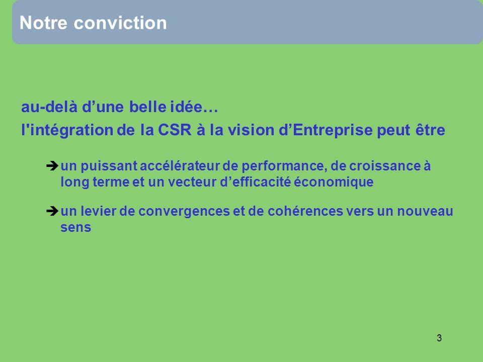 3 Notre conviction au-delà dune belle idée… l intégration de la CSR à la vision dEntreprise peut être un puissant accélérateur de performance, de croissance à long terme et un vecteur defficacité économique un levier de convergences et de cohérences vers un nouveau sens