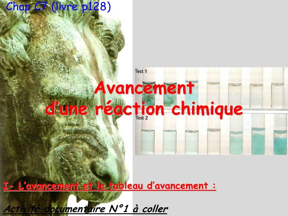 Chap C7 (livre p128)Avancement dune réaction chimique I- Lavancement et le tableau davancement : Activité documentaire N°1 à coller