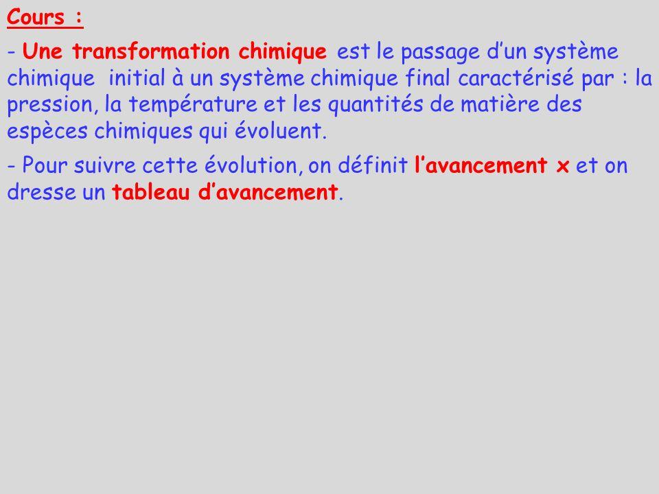 Cours : - Une transformation chimique est le passage dun système chimique initial à un système chimique final caractérisé par : la pression, la tempér
