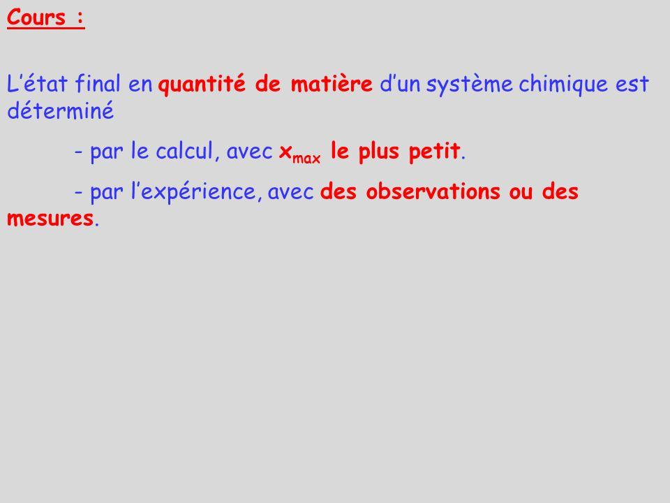 Cours : Létat final en quantité de matière dun système chimique est déterminé - par le calcul, avec x max le plus petit. - par lexpérience, avec des o