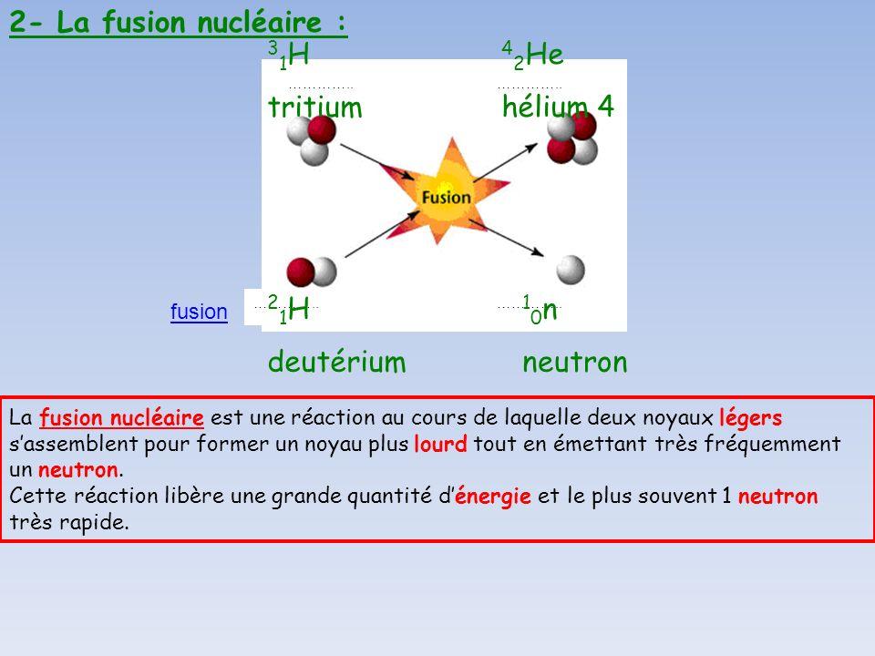 2- La fusion nucléaire : ………….. fusion La fusion nucléaire est une réaction au cours de laquelle deux noyaux légers sassemblent pour former un noyau p