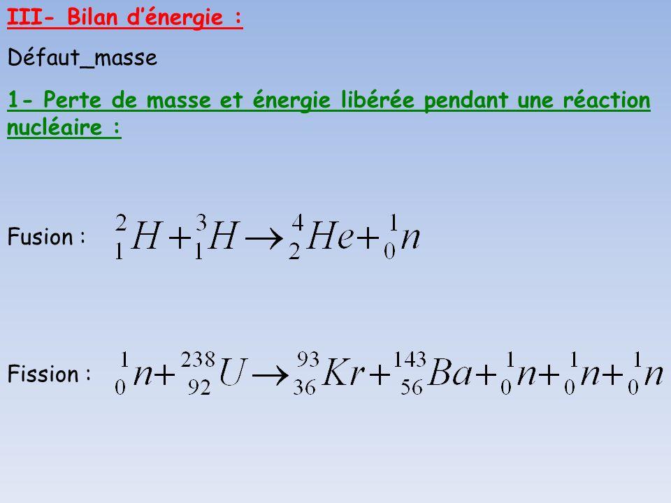 III- Bilan dénergie : 1- Perte de masse et énergie libérée pendant une réaction nucléaire : Fusion : Fission : Défaut_masse