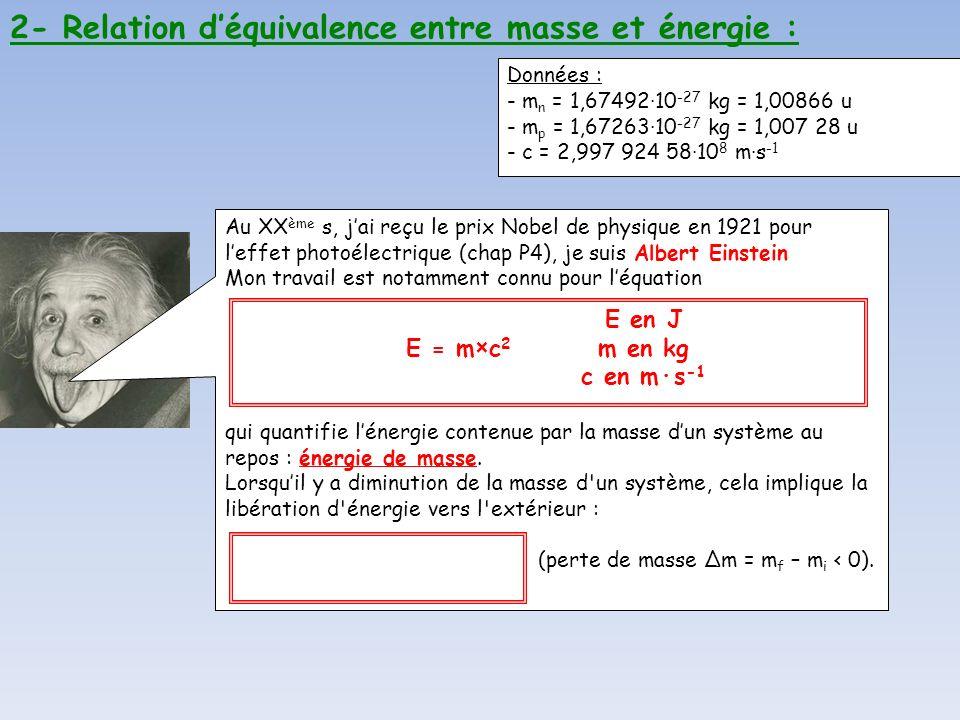 2- Relation déquivalence entre masse et énergie : Au XX ème s, jai reçu le prix Nobel de physique en 1921 pour leffet photoélectrique (chap P4), je su