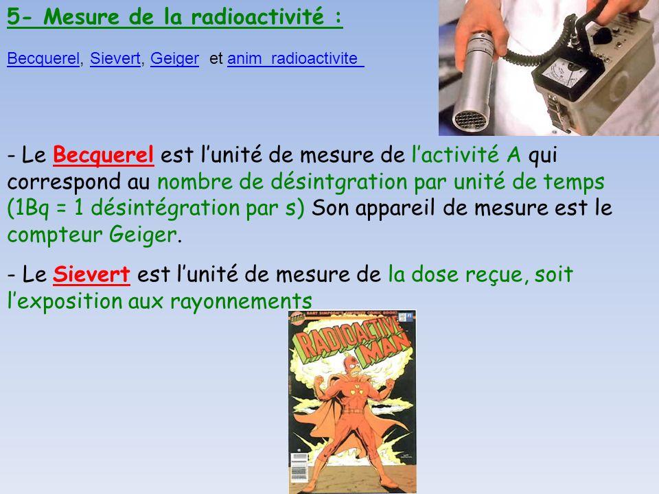 5- Mesure de la radioactivité : - Le Sievert est lunité de mesure de la dose reçue, soit lexposition aux rayonnements - Le Becquerel est lunité de mes