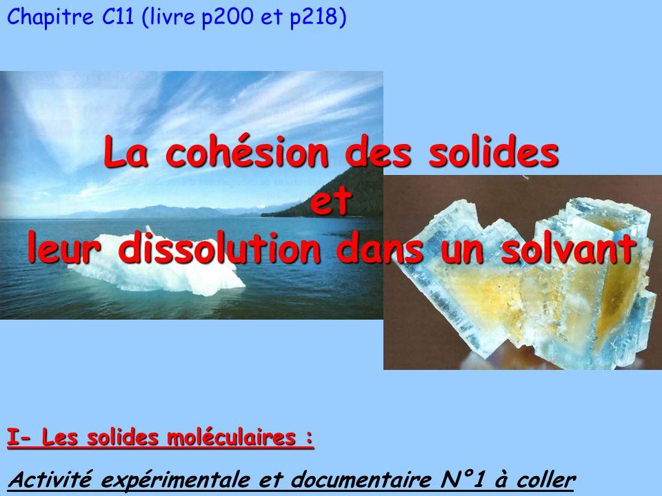 Chapitre C11 (livre p200 et p218) La cohésion des solides et leur dissolution dans un solvant Activité expérimentale et documentaire N°1 à coller I- Les solides moléculaires :