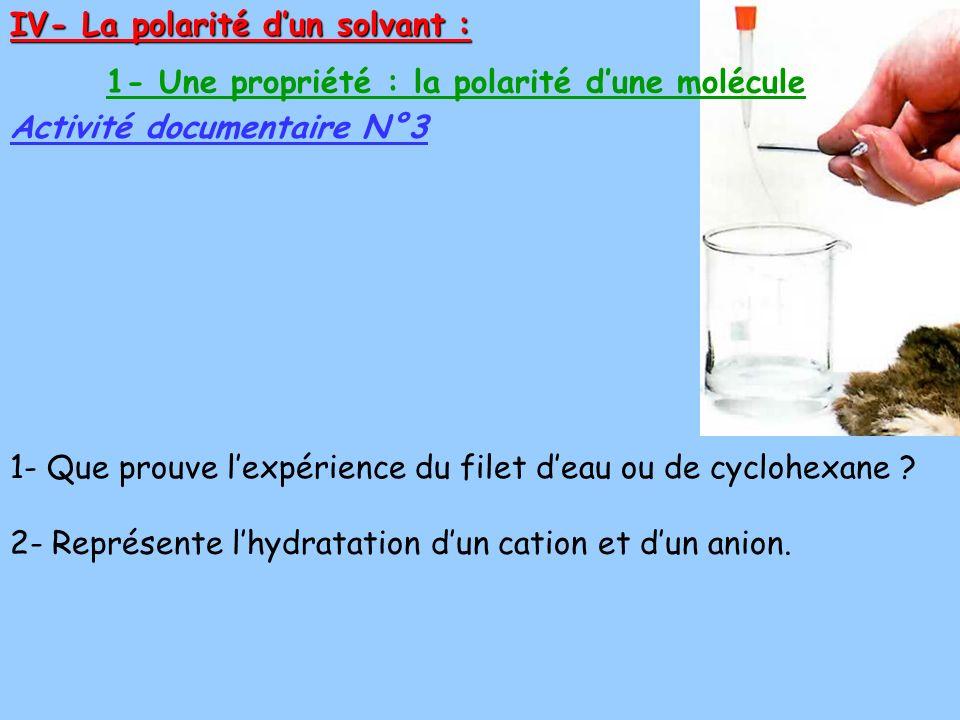 IV- La polarité dun solvant : Activité documentaire N°3 1- Une propriété : la polarité dune molécule 2- Représente lhydratation dun cation et dun anio