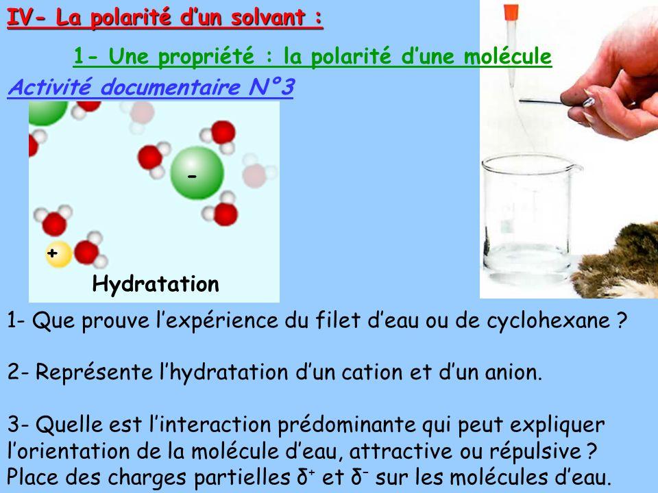IV- La polarité dun solvant : Activité documentaire N°3 1- Une propriété : la polarité dune molécule 2- Représente lhydratation dun cation et dun anion.
