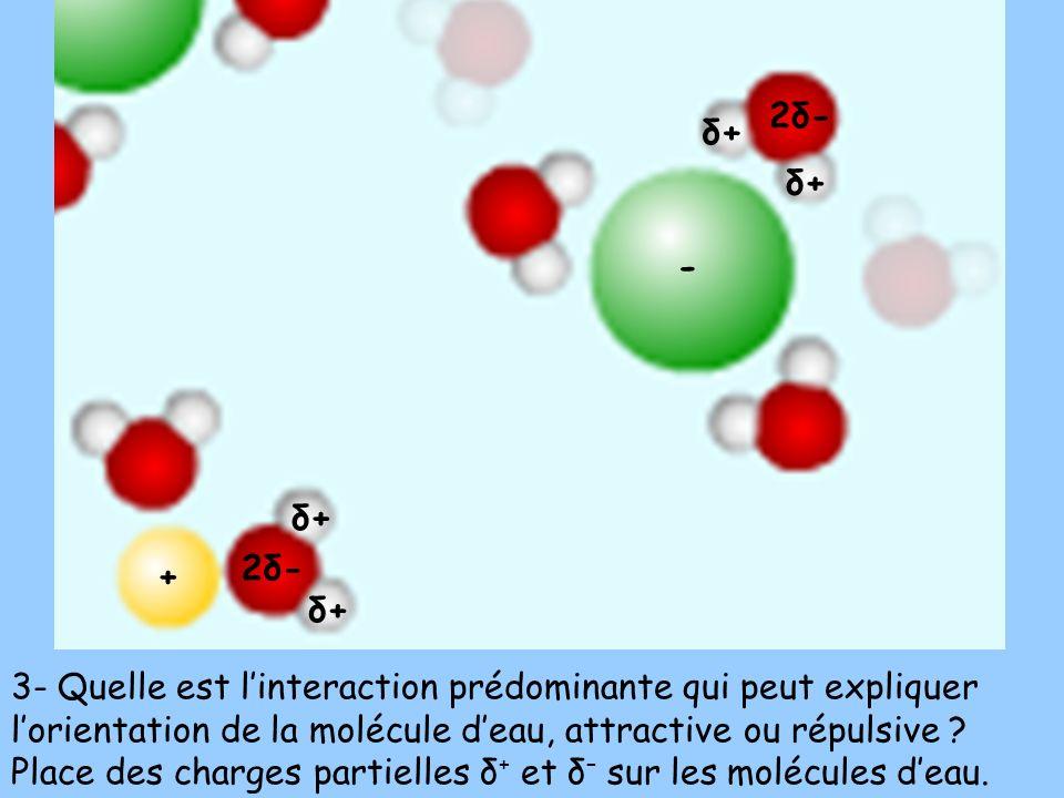 3- Quelle est linteraction prédominante qui peut expliquer lorientation de la molécule deau, attractive ou répulsive ? Place des charges partielles δ
