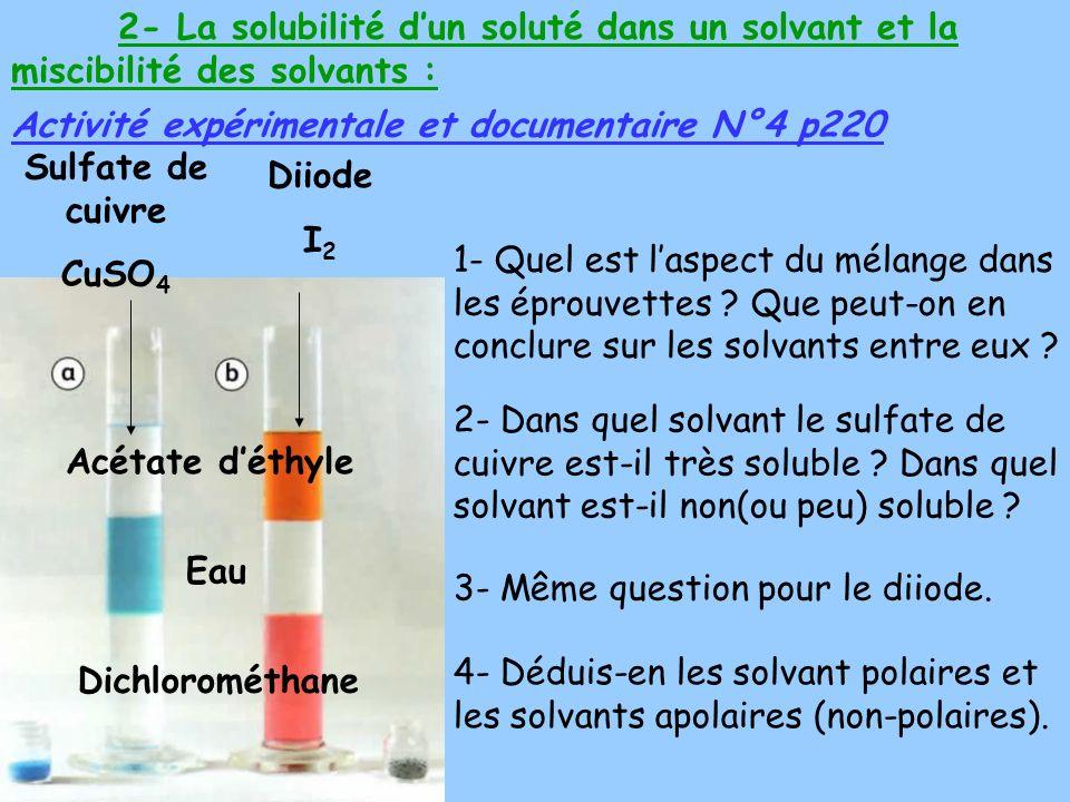 2- La solubilité dun soluté dans un solvant et la miscibilité des solvants : Activité expérimentale et documentaire N°4 p220 1- Quel est laspect du mélange dans les éprouvettes .