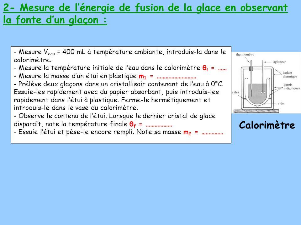 - Mesure V eau = 400 mL à température ambiante, introduis-la dans le calorimètre. - Mesure la température initiale de leau dans le calorimètre θ i = …