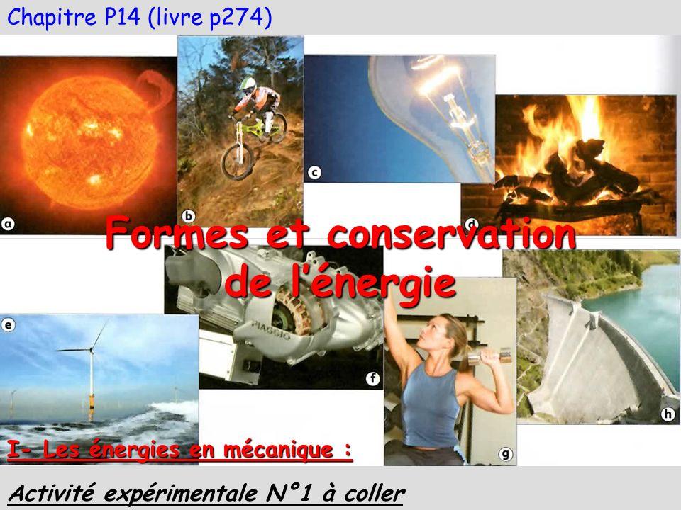 Chapitre P14 (livre p274) Formes et conservation de lénergie I- Les énergies en mécanique : Activité expérimentale N°1 à coller