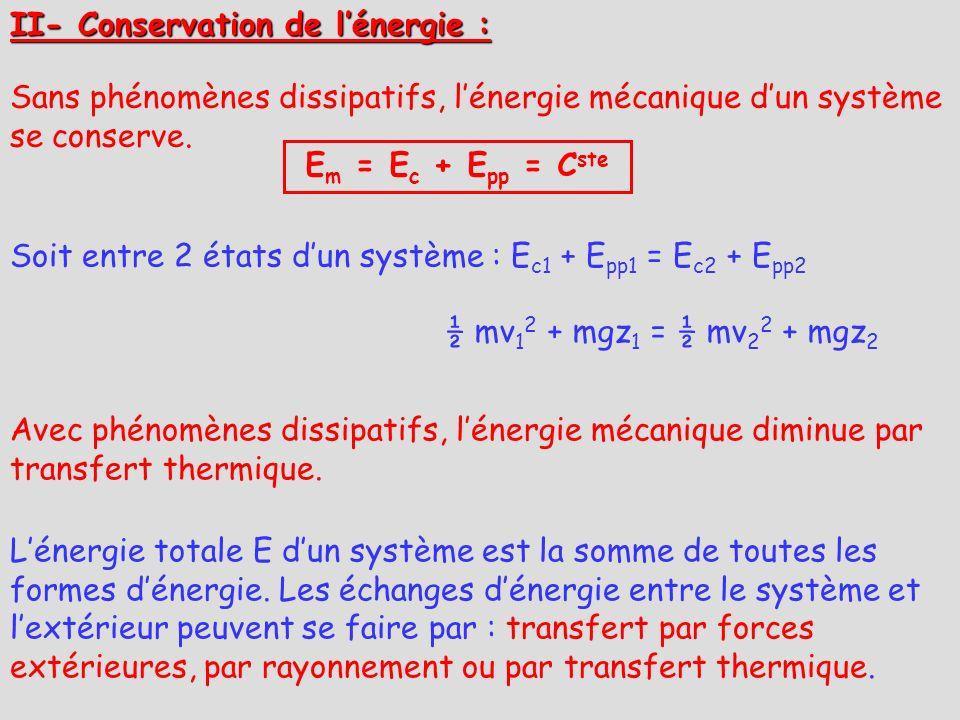 II- Conservation de lénergie : Sans phénomènes dissipatifs, lénergie mécanique dun système se conserve. E m = E c + E pp = C ste Soit entre 2 états du