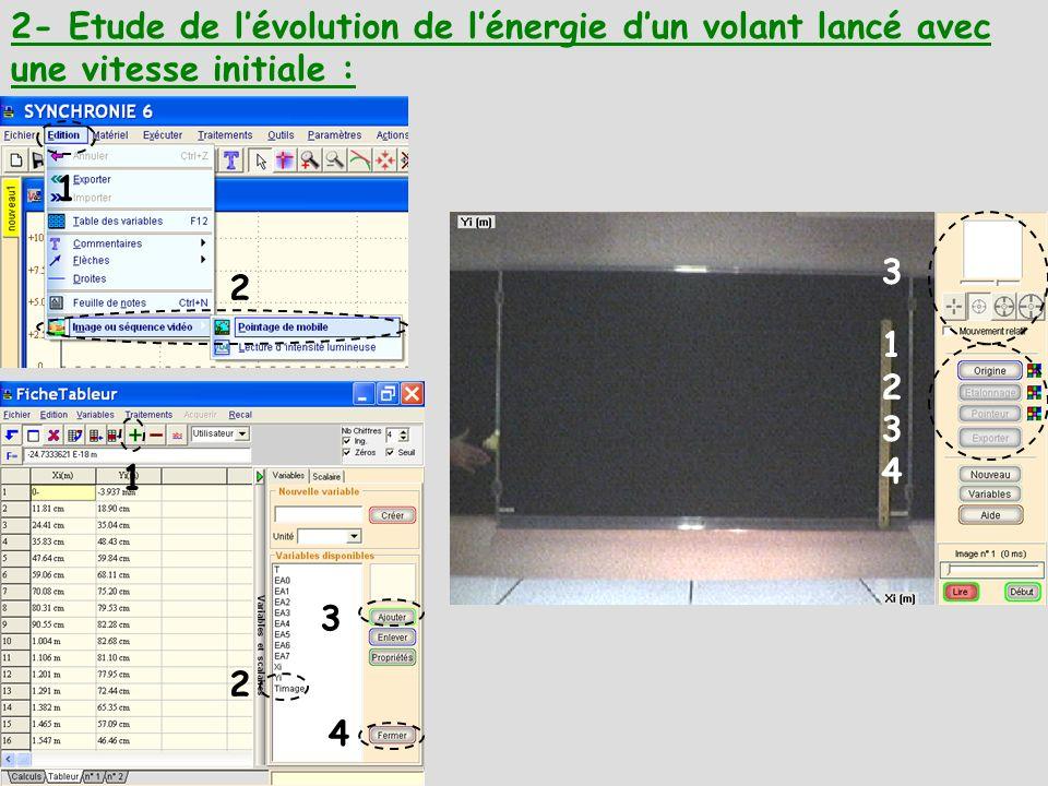 2- Etude de lévolution de lénergie dun volant lancé avec une vitesse initiale : 4 3 2 1 12341234 3 1 2