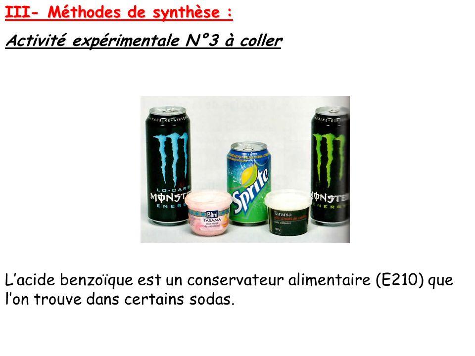 III- Méthodes de synthèse : Activité expérimentale N°3 à coller Lacide benzoïque est un conservateur alimentaire (E210) que lon trouve dans certains s