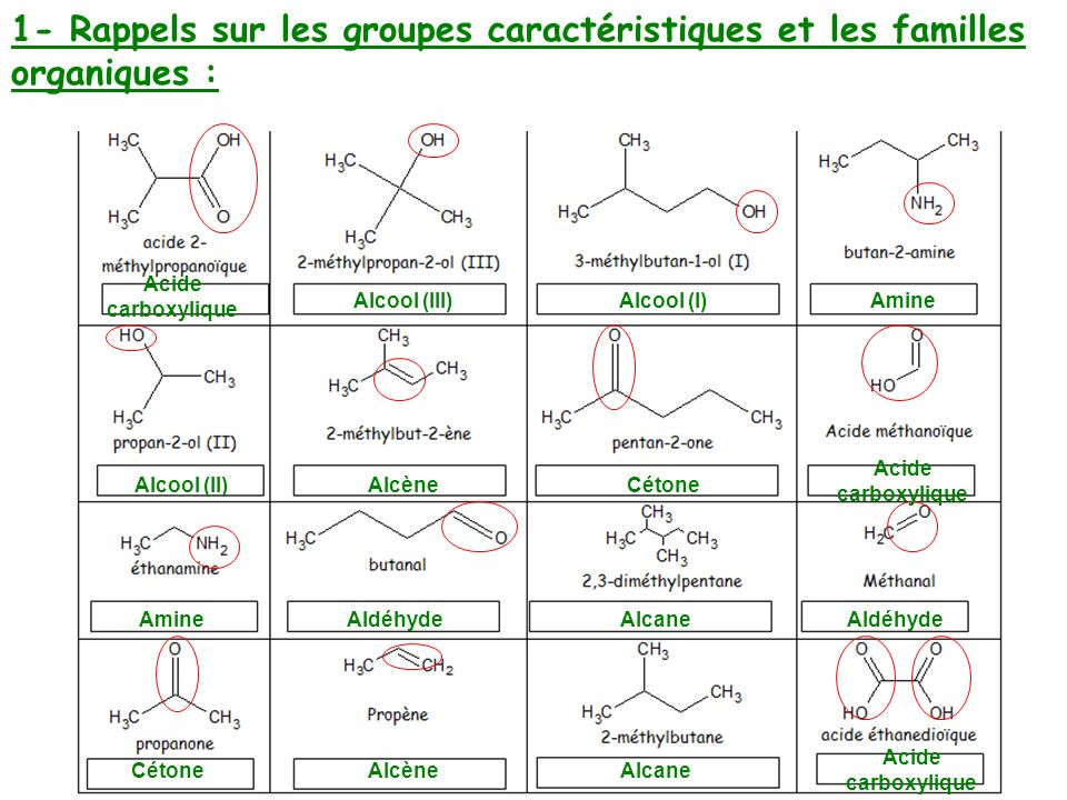 Acide carboxylique Alcool (III)Alcool (I)Amine Alcool (II)AlcèneCétone Acide carboxylique AmineAldéhydeAlcaneAldéhyde CétoneAlcèneAlcane Acide carboxy
