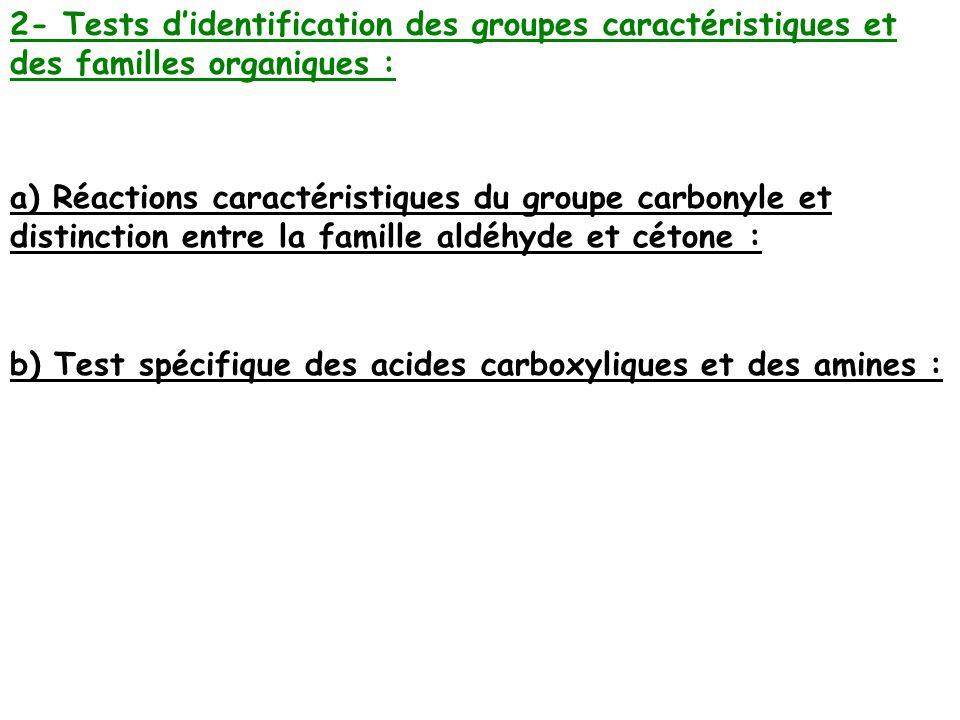2- Tests didentification des groupes caractéristiques et des familles organiques : a) Réactions caractéristiques du groupe carbonyle et distinction en