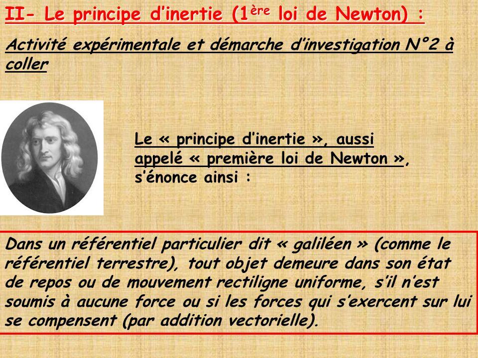 Le « principe dinertie », aussi appelé « première loi de Newton », sénonce ainsi : Dans un référentiel particulier dit « galiléen » (comme le référent