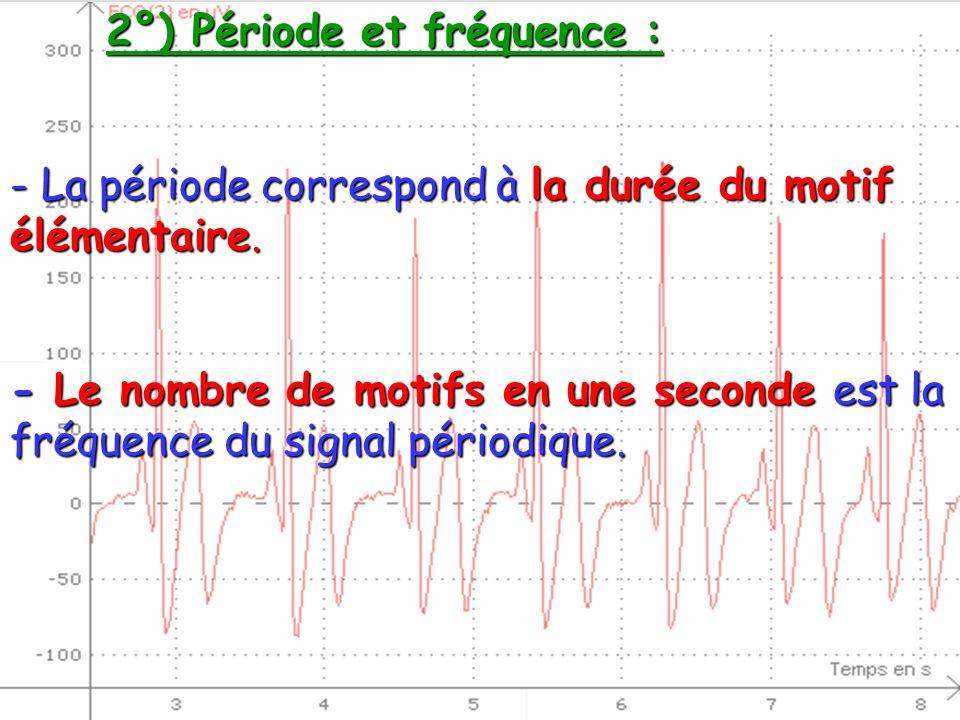 2°) Période et fréquence : - La période correspond à la durée du motif élémentaire. - Le nombre de motifs en une seconde est la fréquence du signal pé