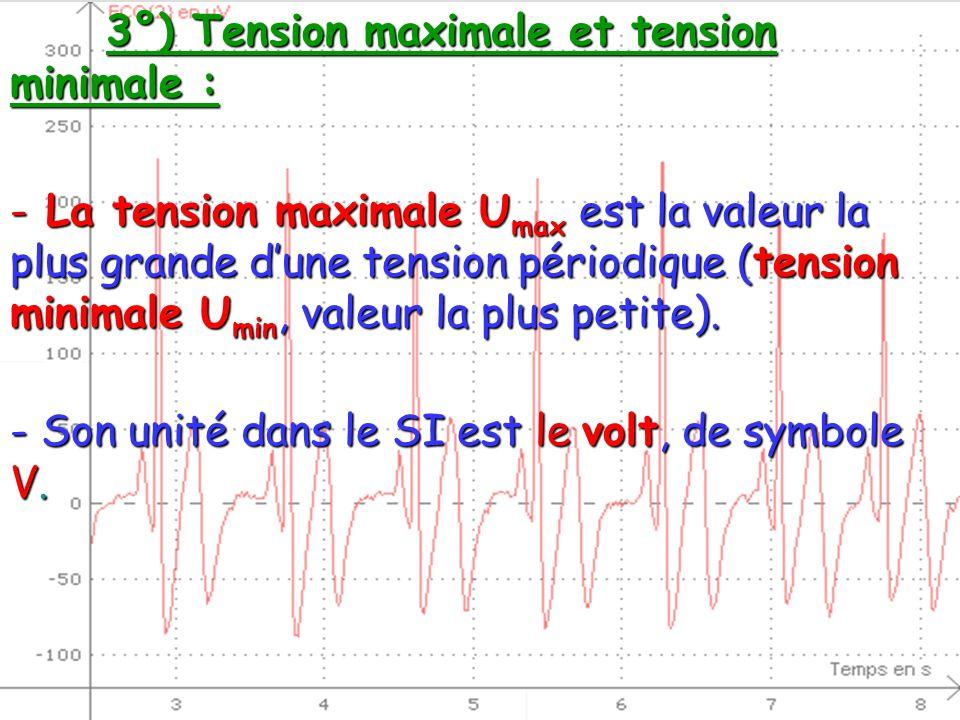 3°) Tension maximale et tension minimale : - La tension maximale U max est la valeur la plus grande dune tension périodique (tension minimale U min, v
