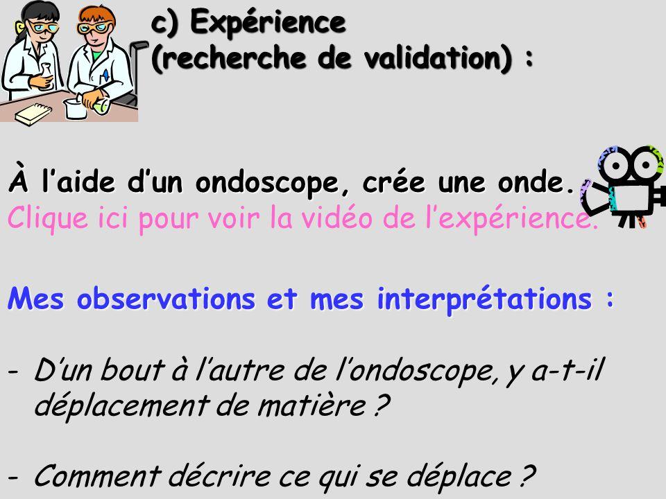 c) Expérience (recherche de validation) : Mes observations et mes interprétations : -Dun bout à lautre de londoscope, y a-t-il déplacement de matière