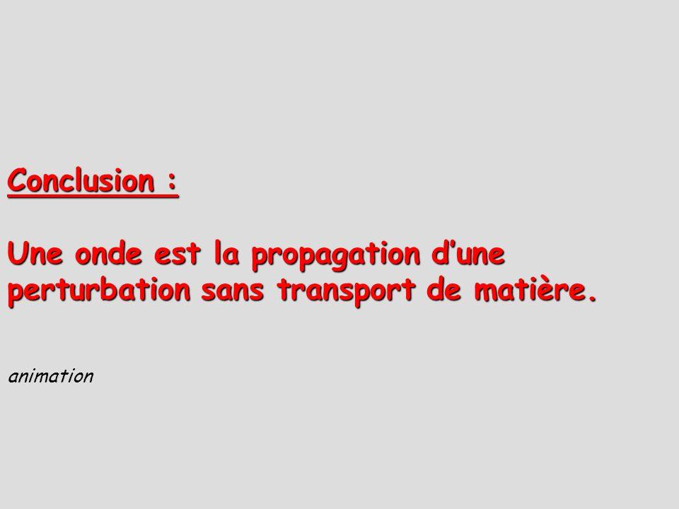 Conclusion : Une onde est la propagation dune perturbation sans transport de matière. animation