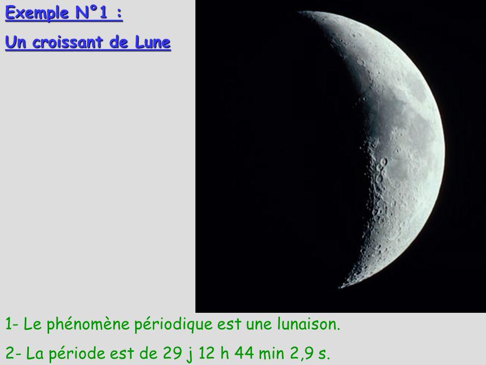 Exemple N°1 : Un croissant de Lune 1- Le phénomène périodique est une lunaison. 2- La période est de 29 j 12 h 44 min 2,9 s.