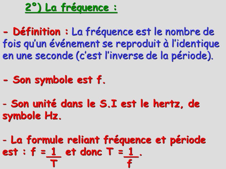 2°) La fréquence : - Définition : La fréquence est le nombre de fois quun événement se reproduit à lidentique en une seconde (cest linverse de la péri