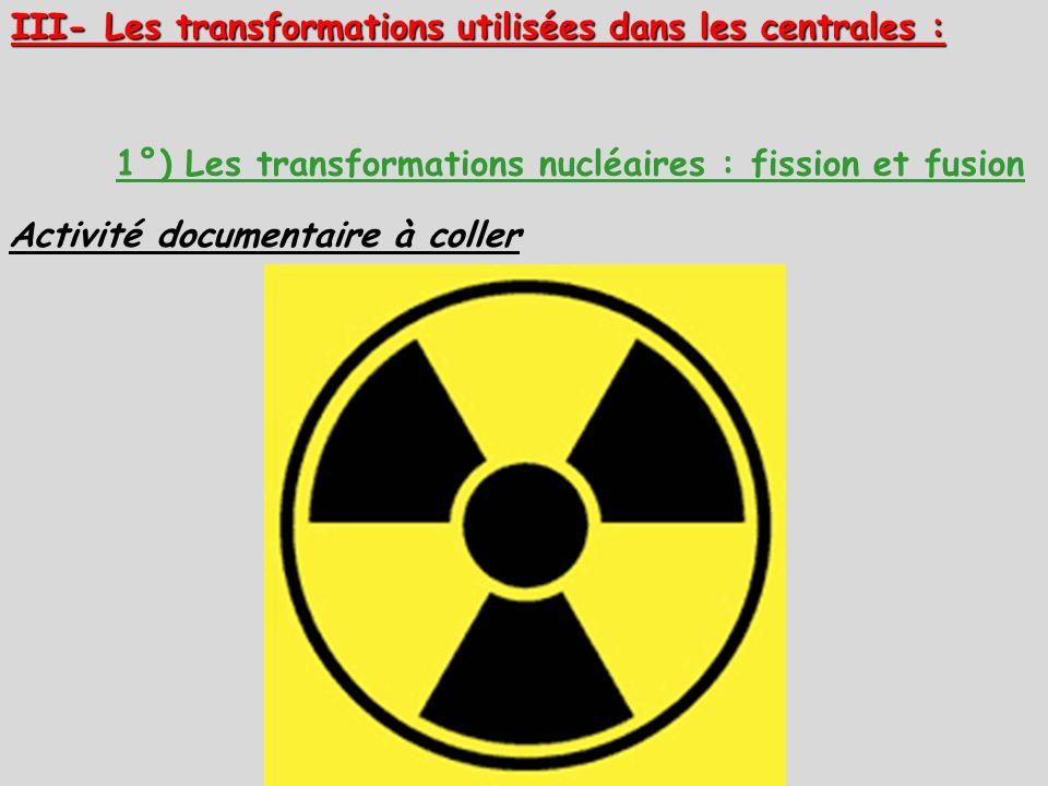 III- Les transformations utilisées dans les centrales : 1°) Les transformations nucléaires : fission et fusion Activité documentaire à coller