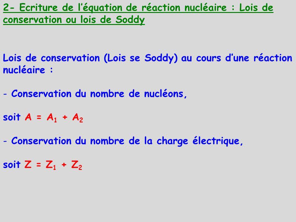 2- Ecriture de léquation de réaction nucléaire : Lois de conservation ou lois de Soddy Lois de conservation (Lois se Soddy) au cours dune réaction nuc
