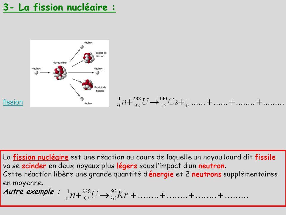 3- La fission nucléaire : fission La fission nucléaire est une réaction au cours de laquelle un noyau lourd dit fissile va se scinder en deux noyaux p