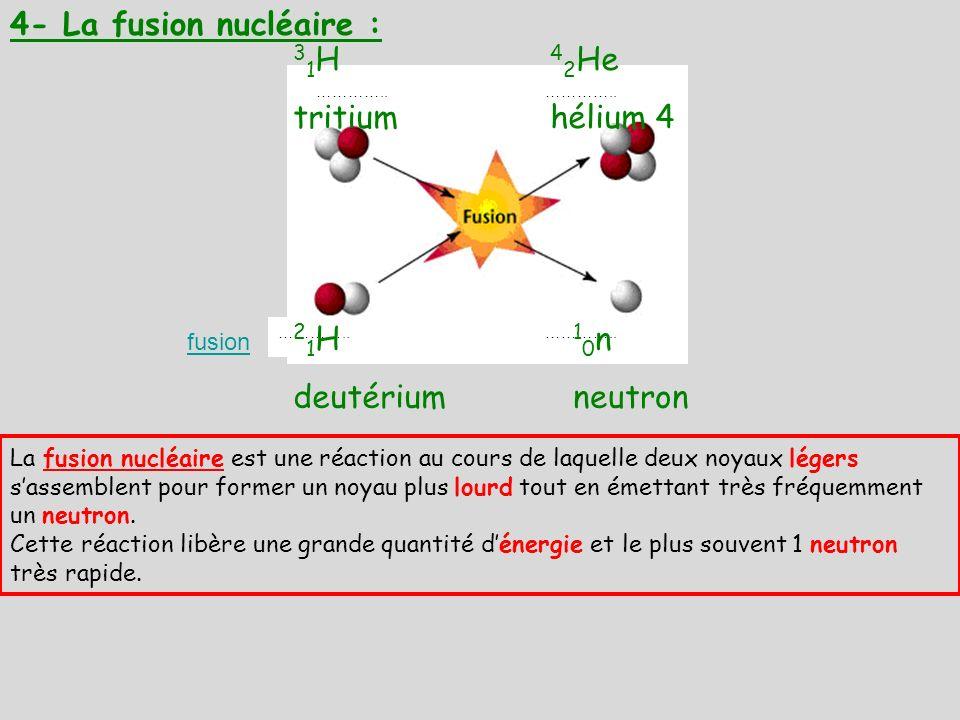 4- La fusion nucléaire : ………….. fusion La fusion nucléaire est une réaction au cours de laquelle deux noyaux légers sassemblent pour former un noyau p