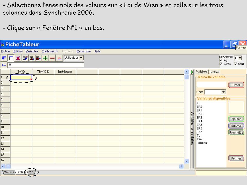 - Sélectionne lensemble des valeurs sur « Loi de Wien » et colle sur les trois colonnes dans Synchronie 2006. - Clique sur « Fenêtre N°1 » en bas.