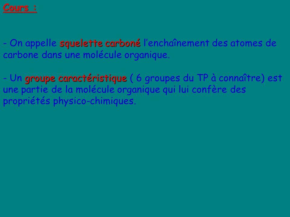 Cours : squelette carboné - On appelle squelette carboné lenchaînement des atomes de carbone dans une molécule organique. groupe caractéristique - Un