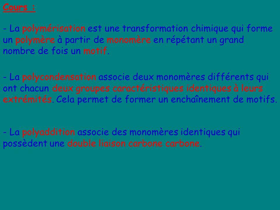 Cours : - La polymérisation est une transformation chimique qui forme un polymère à partir de monomère en répétant un grand nombre de fois un motif. -