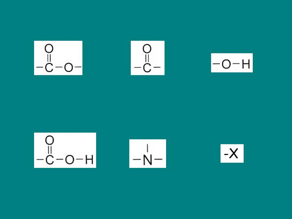 Groupe hydroxyle Groupe carboxyle Groupe carbonyle (C lié à un H aldéhyde) (C lié à 2 autres C cétone) Groupe amine Groupe ester Groupe halogène (X = F, Cl, Br, I) -X