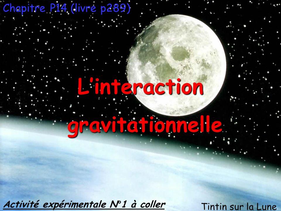 Chapitre P14 (livre p289) Activité expérimentale N°1 à coller Linteraction gravitationnelle gravitationnelle Tintin sur la Lune