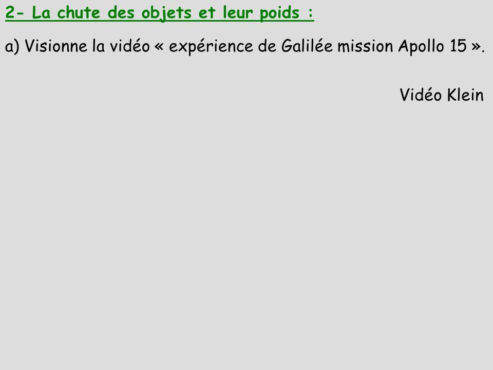2- La chute des objets et leur poids : a) Visionne la vidéo « expérience de Galilée mission Apollo 15 ». Vidéo Klein