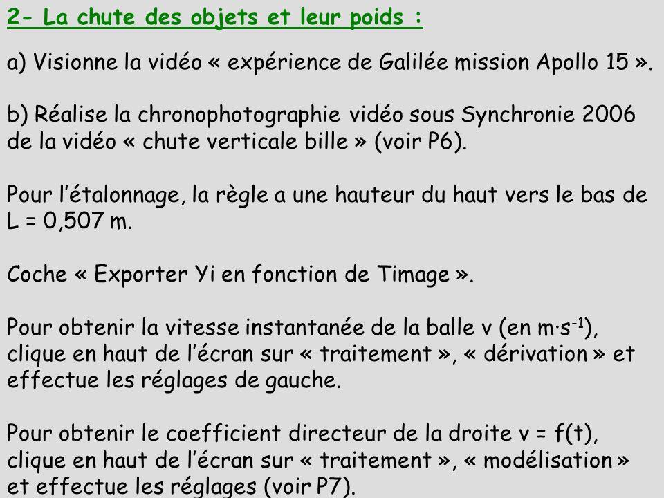 2- La chute des objets et leur poids : a) Visionne la vidéo « expérience de Galilée mission Apollo 15 ». b) Réalise la chronophotographie vidéo sous S